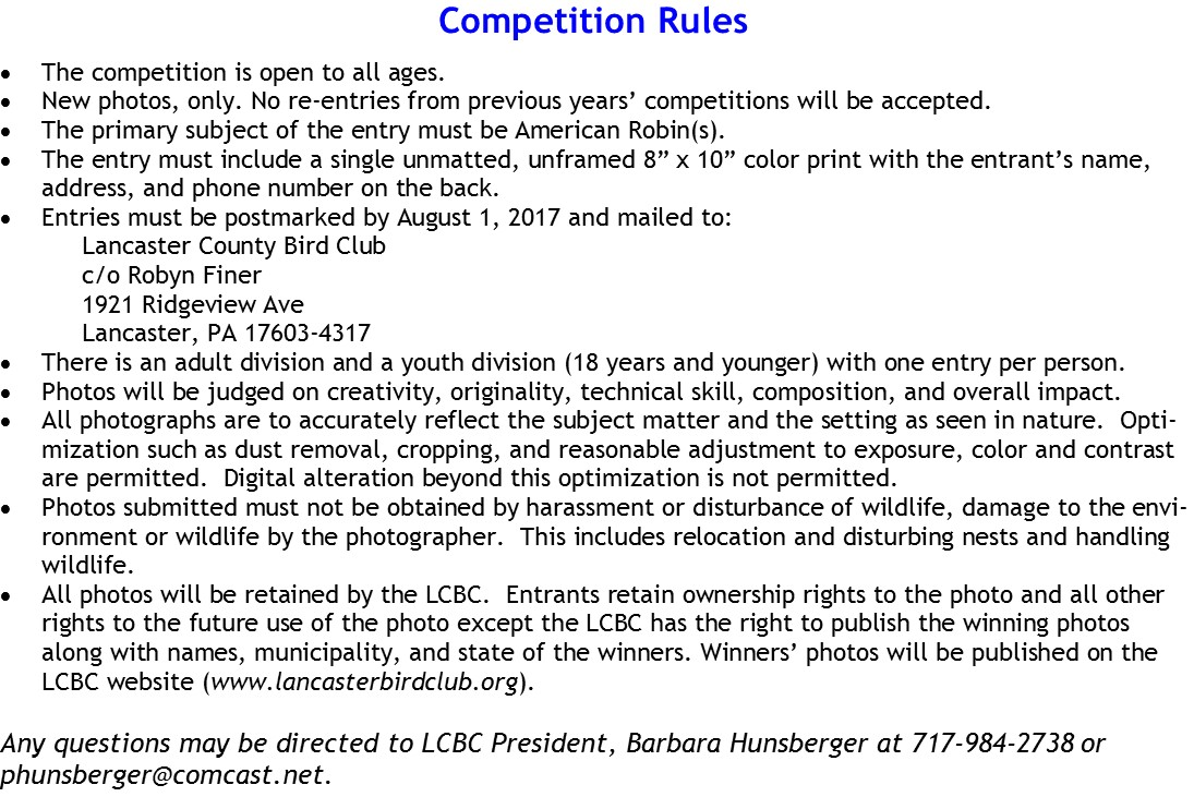 2017 Photo Competition Rules